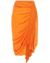 Preen Line Rosa Asymmetric Shirred Crepe De Chine Skirt - Orange