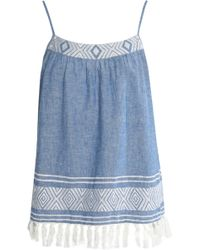 Soft Joie - Embroidered Cotton And Linen-blend Chambray Top Light Blue - Lyst