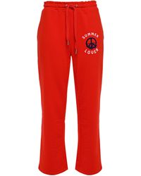 Zoe Karssen Flocked French Cotton-blend Terry Track Pants Tomato Red
