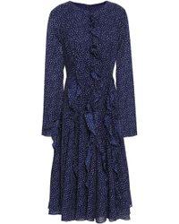 Mikael Aghal Ruffled Polka-dot Chiffon Midi Dress Navy - Blue