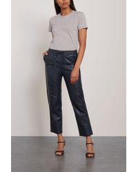J Brand Cropped Leather Track Pants Midnight Blue