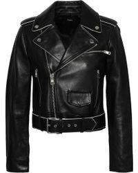 Theory Cropped Leather Biker Jacket Black
