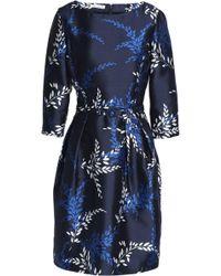 Oscar de la Renta - Belted Printed Silk And Cotton-blend Faille Dress - Lyst