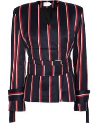 Solace London - Belted Striped Wool And Cotton-blend Jacket - Lyst
