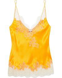 Carine Gilson Lace-trimmed Silk-twill Camisole Bright Orange