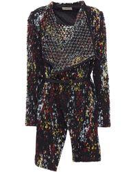 Ba&sh Icare Belted Brushed Bouclé-knit Jacket Black