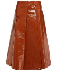 Vivetta Pleated Faux Leather Midi Skirt - Brown