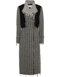 Tory Burch Double-breasted Frayed Wool-blend Tweed Coat - Black