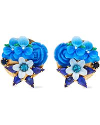 Elizabeth Cole - Woman Gold-tone Crystal And Resin Earrings Blue - Lyst