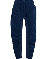 Stella McCartney - Tina Cropped Gathered Cotton-corduroy Tapered Pants - Lyst