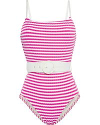 Solid & Striped The Nina Belted Striped Ribbed Swimsuit - Purple