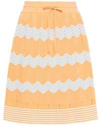 M Missoni Crochet-knit Cotton-blend Mini Skirt Pastel Orange