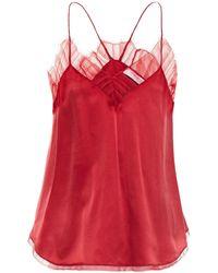 IRO Berwyn Lace-trimmed Silk-charmeuse Camisole Crimson - Red