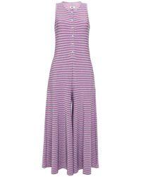 MM6 by Maison Martin Margiela Striped Metallic Jersey Wide-leg Jumpsuit - Purple