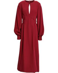 Proenza Schouler Pleated Textured-crepe Midi Dress Claret