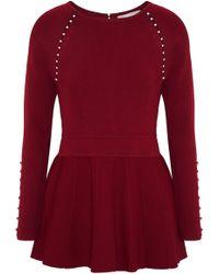 Lela Rose - Faux Pearl-embellished Stretch-knit Peplum Top Claret - Lyst