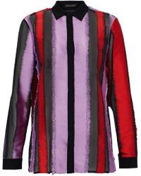 Versace - Fil Coupé Silk-blend Chiffon Shirt - Lyst