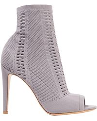Gianvito Rossi - Woman Vires 105 Open-knit Ankle Boots Taupe - Lyst