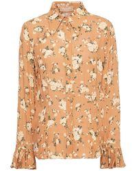 Michael Kors Fluted Floral-print Silk-georgette Shirt - Multicolour