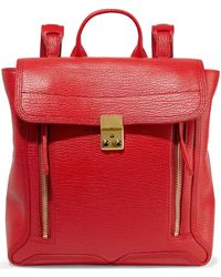 3.1 Phillip Lim - Pashli Textured-leather Backpack Tomato Red - Lyst