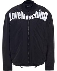 Love Moschino Embroidered Shell Bomber Jacket - Black