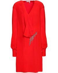 Lanvin Chiffon-paneled Draped Embellished Silk-crepe Mini Dress Red
