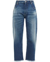 MM6 by Maison Martin Margiela Cropped Frayed High-rise Wide-leg Jeans Mid Denim - Blue