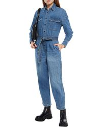 R13 Belted Pleated Cotton-chambray Jumpsuit Mid Denim - Blue