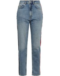 Anine Bing Appliquéd Faded High-rise Tapered Jeans Mid Denim