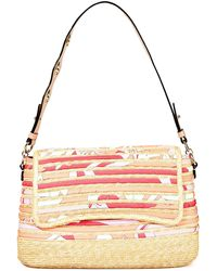 Emilio Pucci Leather-trimmed Printed Twill And Straw Shoulder Bag - Multicolour