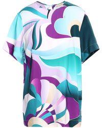 Emilio Pucci Printed Twill T-shirt Teal - Blue