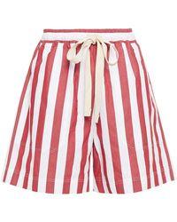 Lee Mathews Simone Striped Cotton Shorts - Red