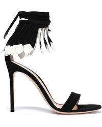 Gianvito Rossi - Fringed Metallic Leather Sandals - Lyst