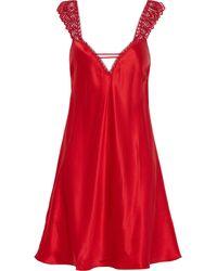 Simone Perele Simone Pérèle Guipure Lace-trimmed Silk-blend Satin Chemise - Red