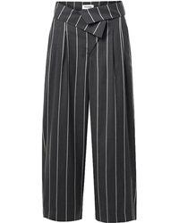 Monse Fold-over Pinstriped Wool Wide-leg Trousers - Grey