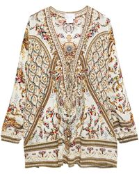 Camilla Lace-up Embellished Printed Silk Crepe De Chine Blouse Cream - Natural