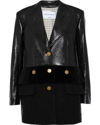 Sonia Rykiel - Wool-paneled Coated Cotton-blend Coat Dark Brown - Lyst