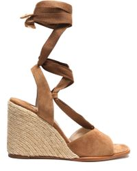 Paloma Barceló - Lace-up Suede Wedge Sandals - Lyst