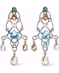 Lanvin - Burnished Silver-tone Crystal Earrings - Lyst