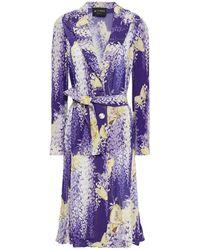Etro Belted Printed Silk-crepon Jacket - Purple