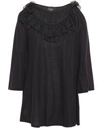 Giambattista Valli Lace-trimmed Ruffled Cashmere And Silk-blend Sweater - Black