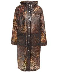 Ganni Tiger-print Matte-tpu Hooded Raincoat Animal Print - Multicolour
