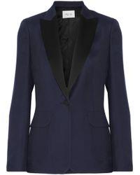 Pallas Adelaide Satin-trimmed Crepe Blazer Midnight Blue