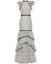 ML Monique Lhuillier Ruffled Guipure Lace Gown White