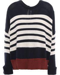 Autumn Cashmere Tie-back Striped Cashmere Jumper Navy - Blue