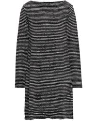 ATM - Woman Striped French Cotton-blend Terry Dress Charcoal - Lyst