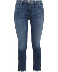 J Brand Cropped Stripe-trimmed Faded Mid-rise Skinny Jeans Mid Denim - Blue