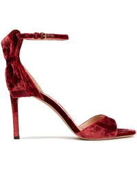 Valentino Garavani Bow-embellished Velvet Sandals - Red