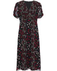 Anna Sui - Shirred Printed Silk-chiffon Dress Black - Lyst