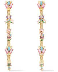 Noir Jewelry Tone Crystal Earrings - Metallic